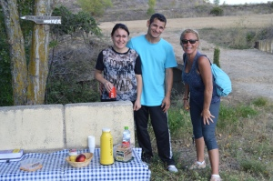 We took water and Coke from Christian and Valentina of Logrono, who set up shop in the vineyard. They took donations from Pilgrims in payment for the drinks.