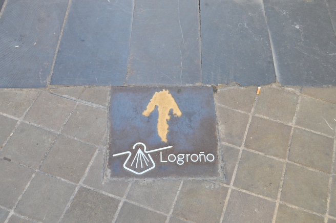 The arrow and scallop to show Pilgrims the way to Santiago