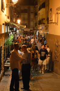 Tapas action in Logrono. Tapas bars line both sides of the streets.