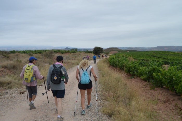 Jackie and new American friends on the Camino
