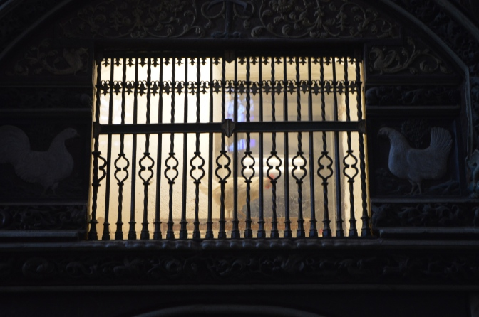 The rooster in his pen in the cathedral in Santo Domingo de la Calzada