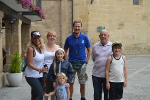 Jackie with Hazel from London, Manuel from Germany, Hazel's dad and her kids. Note, the little one liked the walking pole.