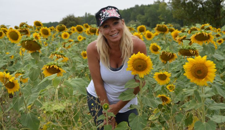 Jackie and sunflowers--pre melt