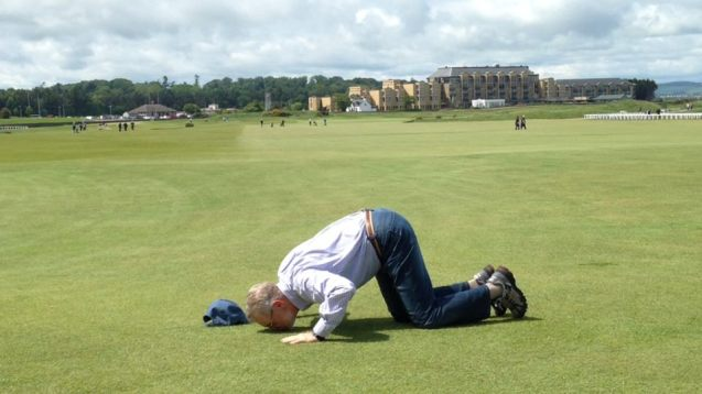 This is Randy - He doesn't talk to gophers. He was kissing the ground on the 18th hole at St. Andrews, where he and his sons played this summer. Jim got a chance to watch him play on the St. Andrews webcam