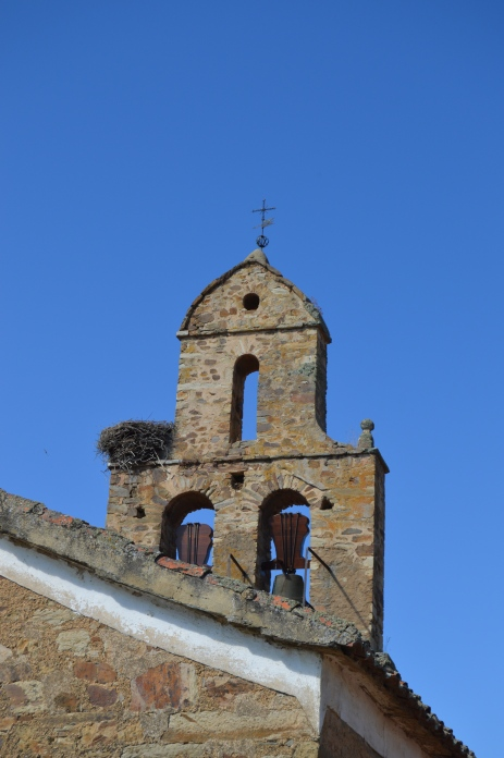 Many churches have stork's nests on towers