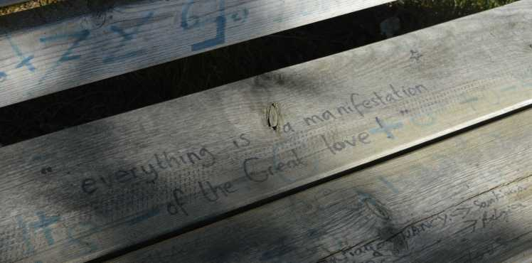 Everything is a manifestation of the great love - Jim can tell he's been on the Camino a while. Even short sayings on park benches high above Spain make his eyes tear up.