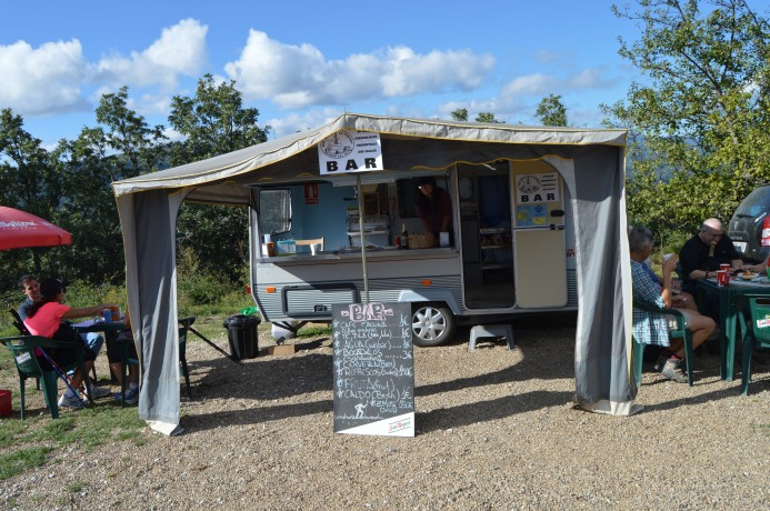 Mobile coffee shop at the Camino's highest point
