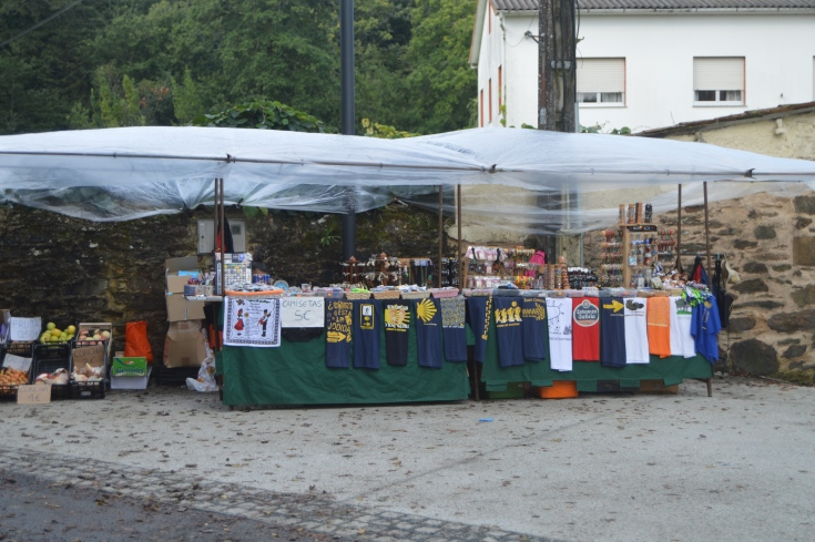 Get your Camino gear here--A vendor set up more than ten kilometers before Santiago.