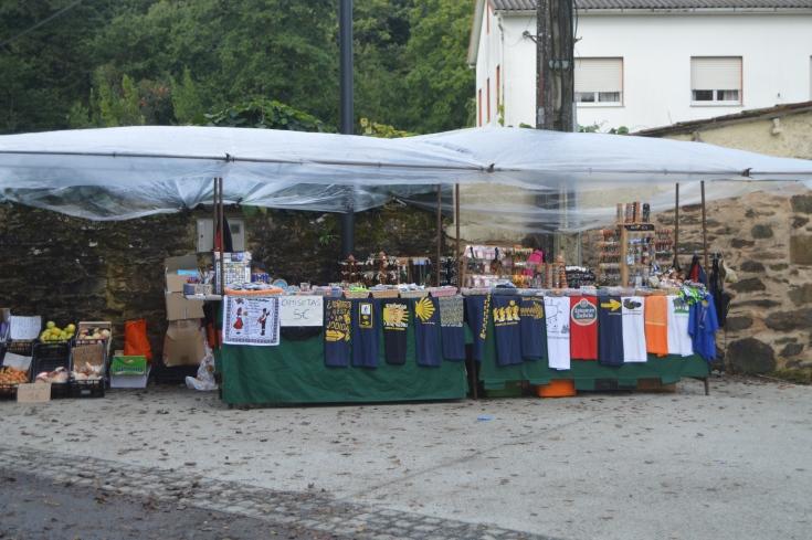 Get your Camino gear here--A vendor set up more than ten kilometers before Santiago.